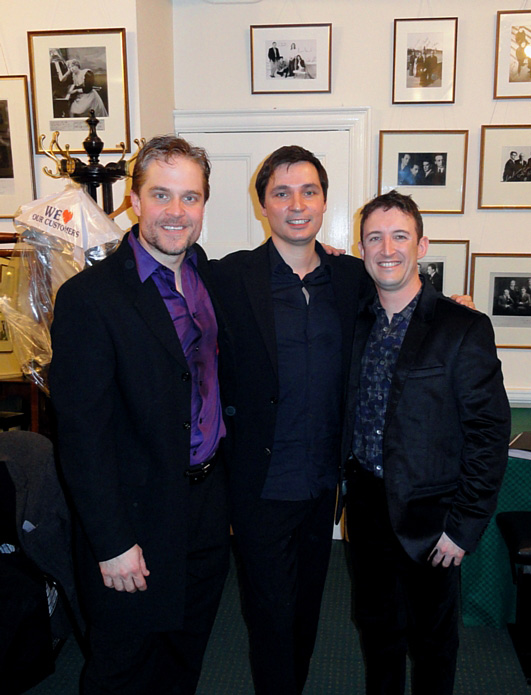 Andrew with countertenor Lawrence Zazzo and pianist Simon Lepper at Wigmore Hall, London, for the premiere of Andrew's song cycle Drink Well and Sing