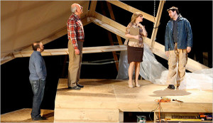 ALL IN THE FAMILY From left, Todd Cerveris, Lenny Wolpe, Liz Larsen and Ken Forman are in Renovations, the story of a rocky father-son collaboration in home renovation. The play is having its world premiere in White Plains. photo byAnnette Jolles