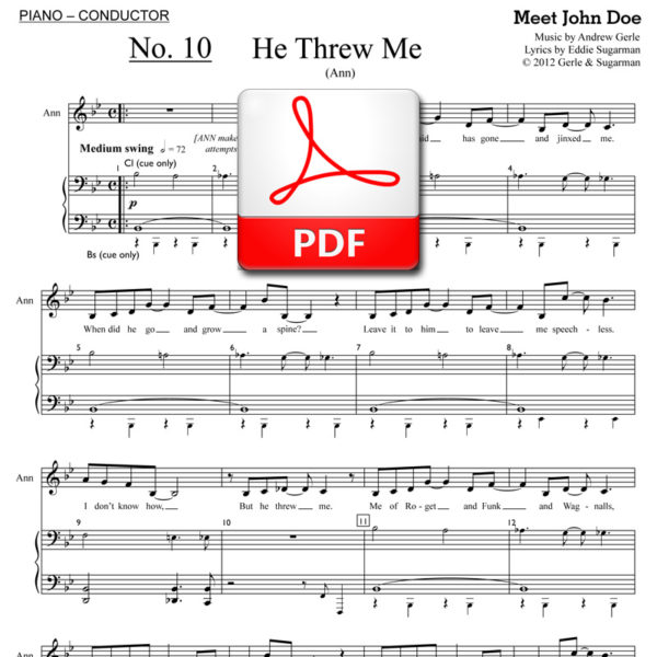 He Threw Me (show version) - PDF - music by Andrew Gerle, lyrics by Eddie Sugarman