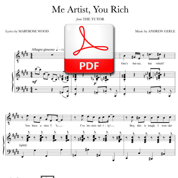 Me Artist, You Rich - PDF - music by Andrew Gerle, lyrics by Maryrose Wood