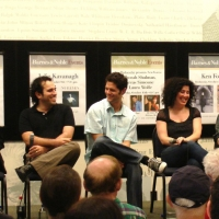 The ASCAP Young Musical Theatre Composers' panel at Barnes & Noble. Left to right: Andrew, Kleban Award-winner Jeremy Desmon (The Girl in the Frame), Tom Kitt (High Fidelity, Next to Normal), Marcy Heisler (Junie B. Jones, Ever After), and Kleban Award-winner Lawrence O'Keefe (Bat Boy, Legally Blonde)